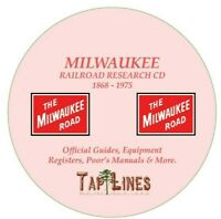 MILWAUKEE ROAD RAILROAD OFFICIAL GUIDES,  EQUIPMENT REGISTERS & RESEARCH ON DVD