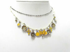 NEW PILGRIM SILVER CHAIN STRING NECKLACE CRYSTALS ENAMEL YELLOW CHARM FLOWERS .