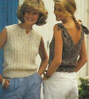 """Ladies Summer Sleeveless Sweater and Sun Top Knitting Patterns in DK 30-40"""" 919"""