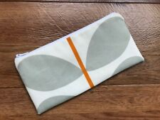 HANDMADE PENCIL MAKE UP GLASSES CASE ORLA KIELY TWO COLOUR STEM WARM GREY FABRIC