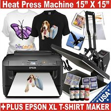 DIGITAL HEAT PRESS 15X15 TRANSFER MACHINE T-SHIRT MAKER START + PRINTER EPSON