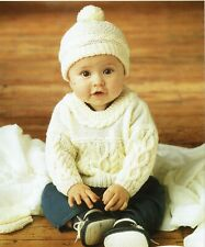 Classic Knitting pattern baby boy DK. Sweater Hat Mittens Jumper, pullover