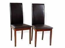 Set of 2 Dining Room Kitchen Solid Wood Hardwood Side Padded Chair Dark Walnut