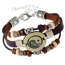 Armband aus Leder und Messing Yin-Yang-Trigramme Unisex