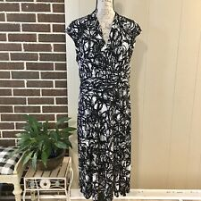 KASPER Women's Size 14 Black White Cap Sleeve Faux Wrap Dress Stretch