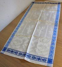 antik Geschirrtuch Tischläufer Leinen Damast blau weiß antique linen towel