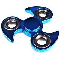 Finger Hand Fidget Spinner Blau metallic + Präzisions Kugellager Top Spin neu