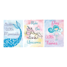 Set of 3 Removable Wall Stickers Mermaid, Fairy, Unicorn Swim with Mermaids Wall
