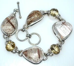 GOLD Rutile Quartz and Citrine Bracelet Natural Stones 925 Sterling SILVER