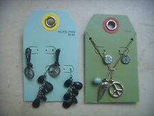 2 Sets of Peace Sign Necklace & Earrings. Free Ship, Hippie Jewelry