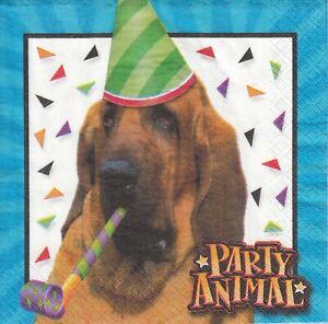 2 Lunch Papier Servietten Napkins (302)  Bluthund   Party Hund
