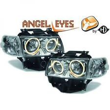 LHD Projector Headlights Pair Angel Eyes Clear Chrome VW T4 Longnose 96-03
