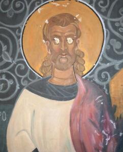 Vintage gouache religious painting Saint fresco