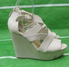 "off White 5.5""High Wedge Heel 1.5""Platforms Ankle Straps Sexy Shoes Size 8"