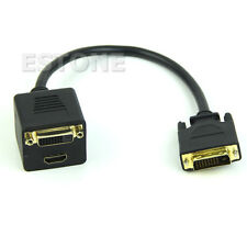 NEW DVI Splitter 1 to 2 Port HDMI Female + DVI 24+1 Y Cable Adapter For PC HDTV