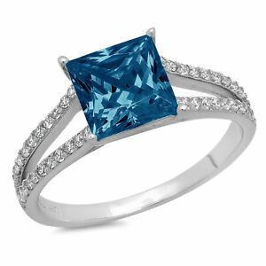 2.4ct Princess split shank London Blue Topaz Promise Wedding Ring 14k White Gold