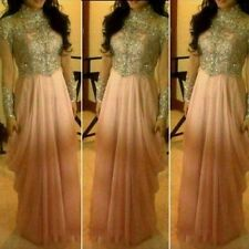 New Luxury Chiffon  Long Sleeve Beaded Prom Gowns High Neck Party Evening Dress
