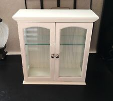 """SHABBY CHIC 10.5"""" x 10.25"""" Mini CURIO CABINET Display Case ETCHED GLASS Country"""