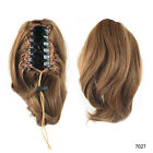Womens Wigs Short Curly Ponytail Hair Extension Claw On Hairpiece Black/Brown