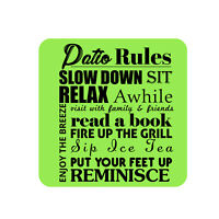 Motivational Patio Rules Metal Sign, Beach Pool Party Decor Plaque - Green