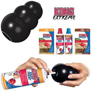 KONG Extreme Black Tough Dog Toy Teething Chew Snack Easy Treat Dispenser Paste