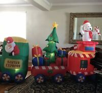 Inflatable Airblown Santa Express Train 12 Feet Christmas Tree Presents Gemmy