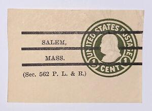 Travelstamps:US Stamps Scott #U420 Cut Square 1 Cent Salem, Mass. Cancel