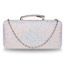 Stunning Silver Glitter Evening Wedding Clutch Box