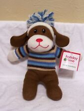 10 Inch Plush Brown Sock Dog Christmas Holiday Decoration Childs Monkey Gift