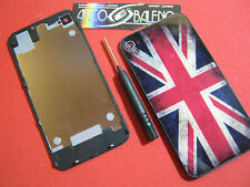 Kit COVER POSTERIORE RETRO per APPLE IPHONE 4S+GIRAVITE FLIP BATTERIA VETRO UK