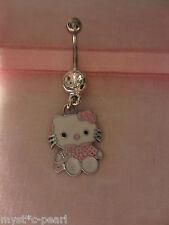 Rosa Hello Kitty Acero Inoxidable Acero Quirúrgico Ombligo del vientre/barra En Bolsa De Regalo Bonito