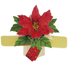 Poinsettias Christmas Pop-Up Greeting Card Second Nature 3D Pop Up Cards