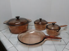 Vintage Vision Ware Corning Cookware Set Amber 7 Pc Dutch Oven, Fry Pan, Pots