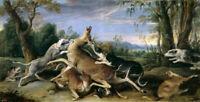 Oil painting Frans Snyders - Caza de venado Hunting deer The hounds in landscape