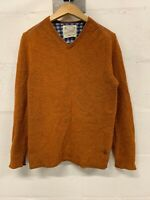 Mens White Stuff Lambswool Jumper V-Neck Pullover Orange Size M Medium