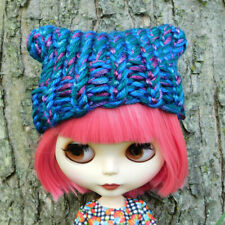 Sparkly Blue Turquoise Purple Adventure Hat For Blythe - Ribbed Brim w/ Nub Ears