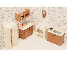 Unfinished Wood Kitchen Dollhouse Furniture Kit Comfortable Gracefully Designed