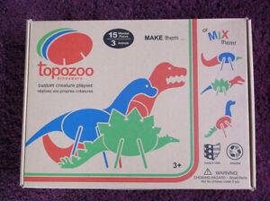 Topozoo Custom Creature Playset, Wood 3-D Puzzle Dinosaurs