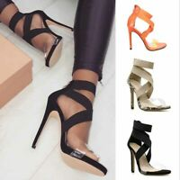 Sexy Womens Peep Toe Cross Elastic Ankle Strappy Zip High Heels Party Shoes Size