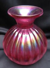"Vintage Hand Blown Cranberry Glass  3"" Vase With Beautiful Iridescence Finish"