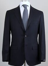 New Sartorio Napoli Kiton Handmade Blue Wool Silk Suit Size 46 (56 EU) NWT