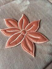 Applique Design Large Flower Peach Flower in Satin