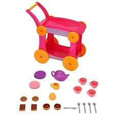 NEW Just Like Home High Tea Trolley Cart & 25+ Pieces Tea Set Pretend Playset
