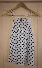 Divided H&M Black & White Polka Dot Floaty Button Up Vest Top Size 10