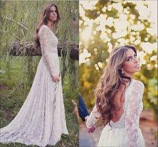 Lace Long Sleeve Backless Wedding Dress Bohemian Beach Bridal Gown Custom 6 8 ++