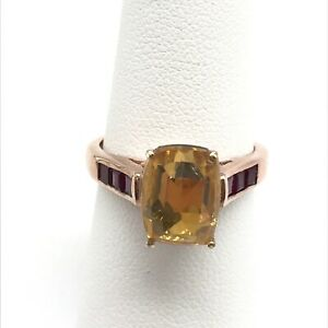 925 Sterling Silver Rose Gold Plated Citrine Ruby Ring Size 7