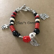 "Day Of The Dead Bracelet Sugar Skull & Rose W Charms 6.5"" Artisan USA 1548"