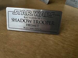 Star Wars Black Series Shadow Trooper Helmet Display Plaque