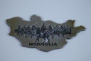 Cool Mongolia Refrigator Magnet Genghis Khan Warriors Mongolian map shaped