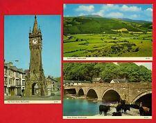 3 Postcards ~ Machynlleth - Town Clock: Dovey Bridge & Valley - ETW Dennis 1970s